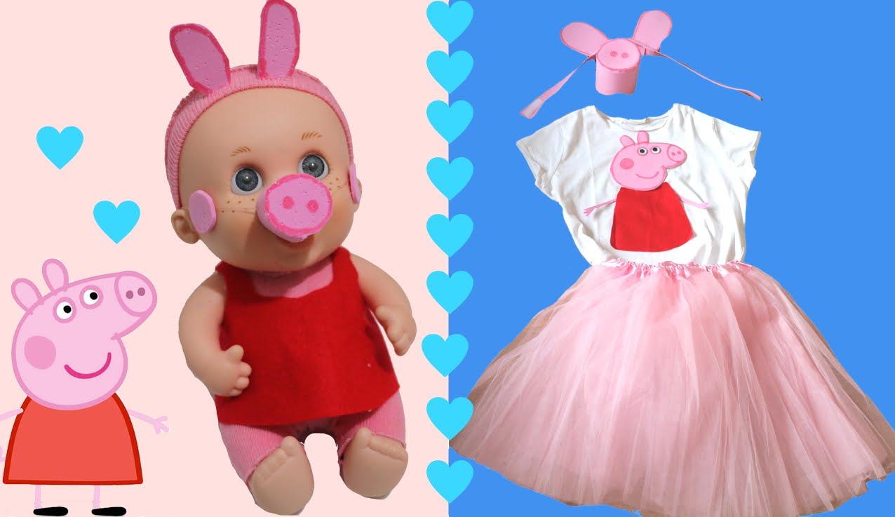 Disfraz de Peppa Pig para las niñas y sus muñecas: Baby Pelón o Nancy