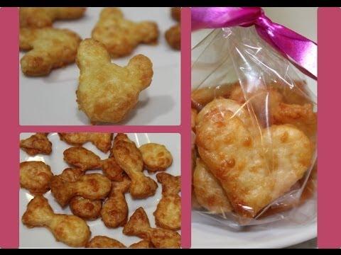 Galletitas de queso en forma de pececitos, corazones..
