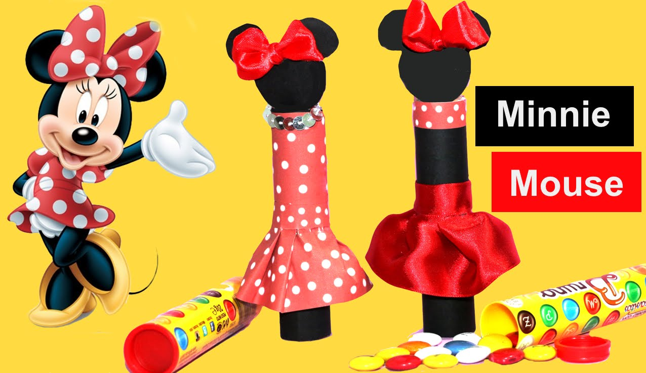 Minnie mouse con chuches. Decoramos un tubo de Lacasitos