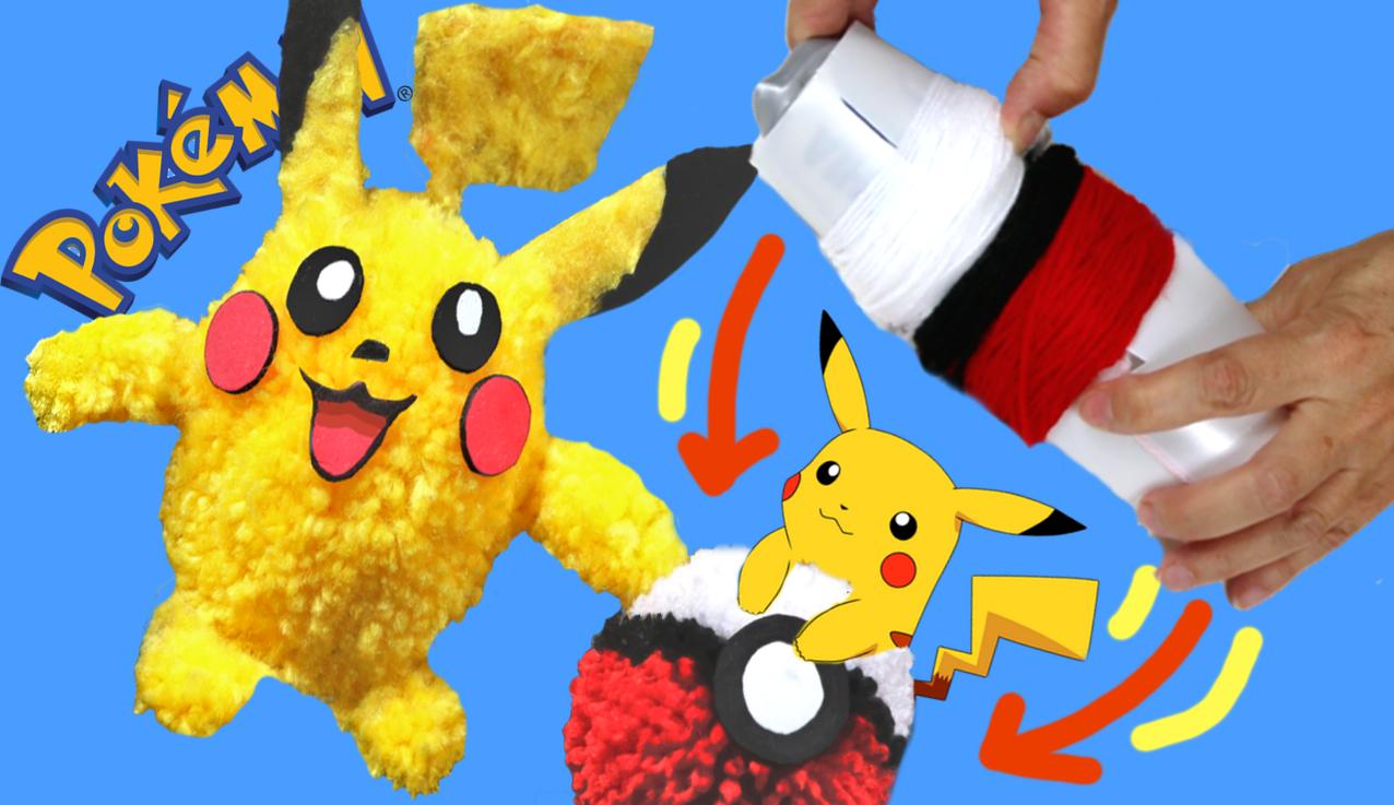 Cómo hacer a Pikachu y una Pokeball pompón con un bote. Juguete Pokemon
