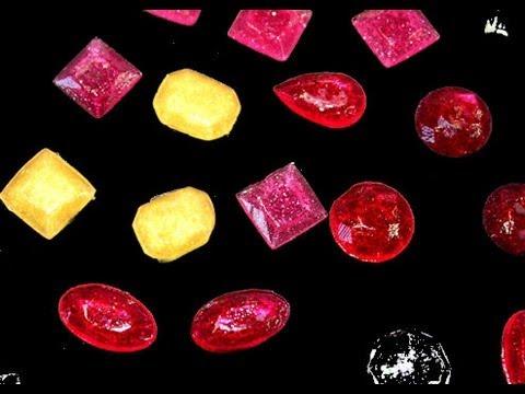 Piedras preciosas de caramelo realizadas con Isomalt