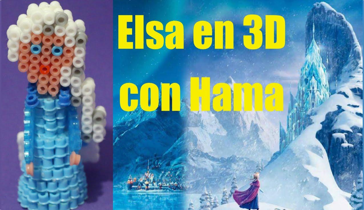 Princesa Elsa de Frozen en 3D con Hama beads o Pyssla
