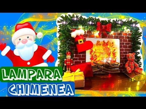 Recicla una caja para hacer una lámpara Chimenea de Santa Claus